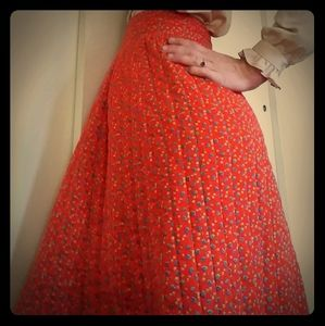 1960's handmade red quilted boho maxi skirt